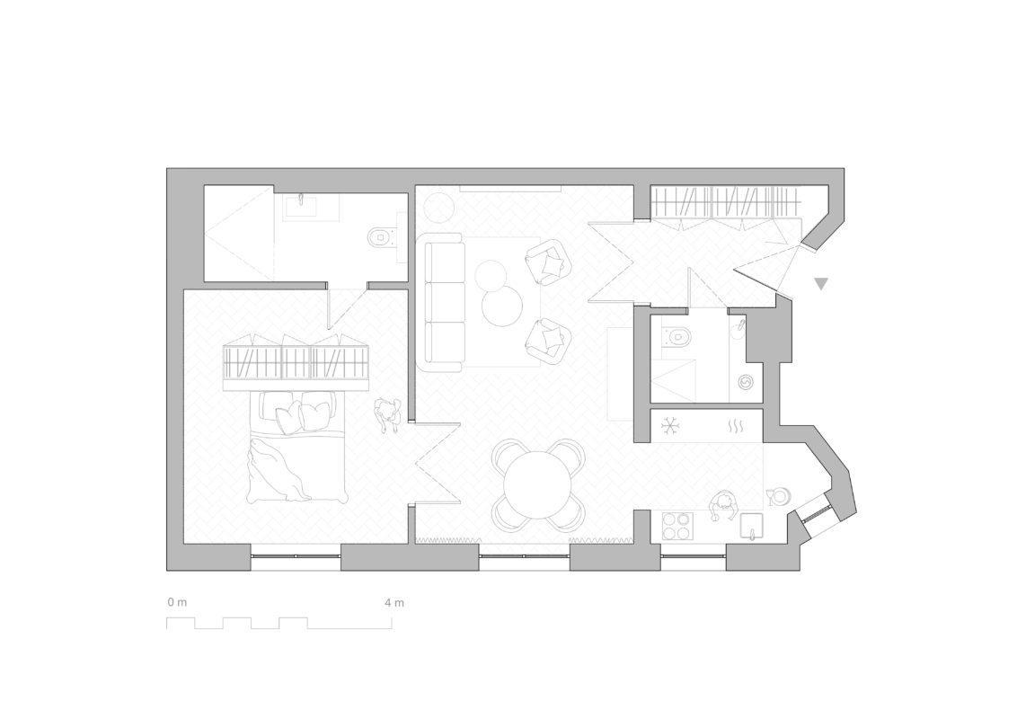 Projekt mieszkania w kamienicy
